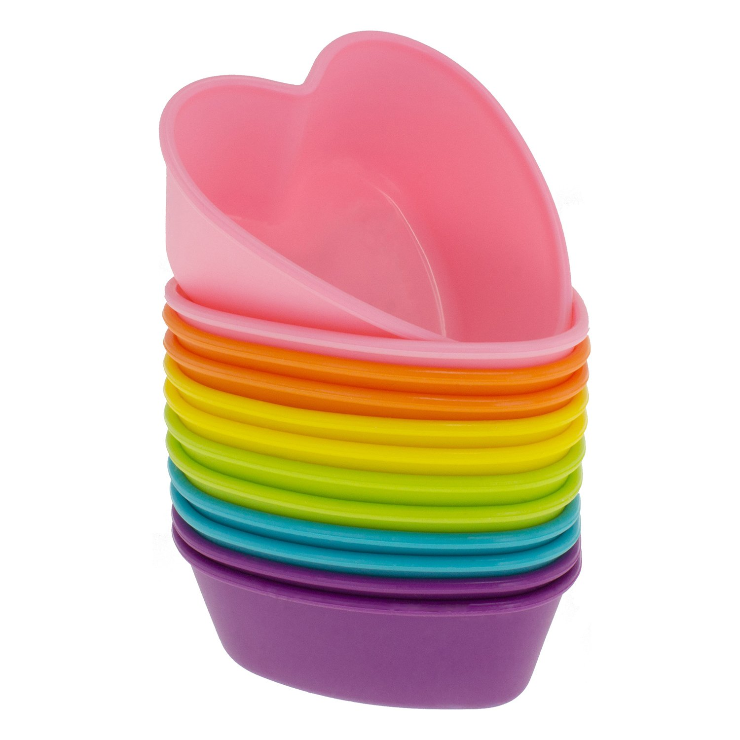 Freshware Silicone Cupcake Liners / Baking Cups - 12-Pack Muffin Molds, Heart, Six Vibrant Colors