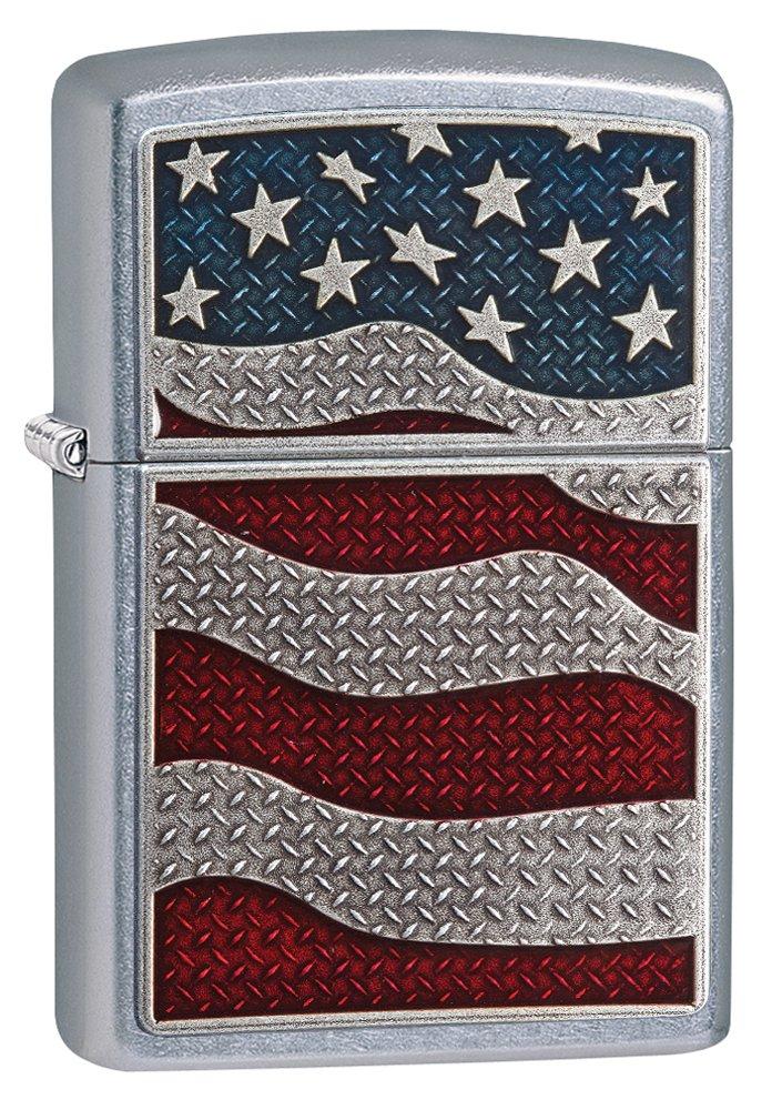 Zippo Diamond Plate Flag Street Chrome Lighter