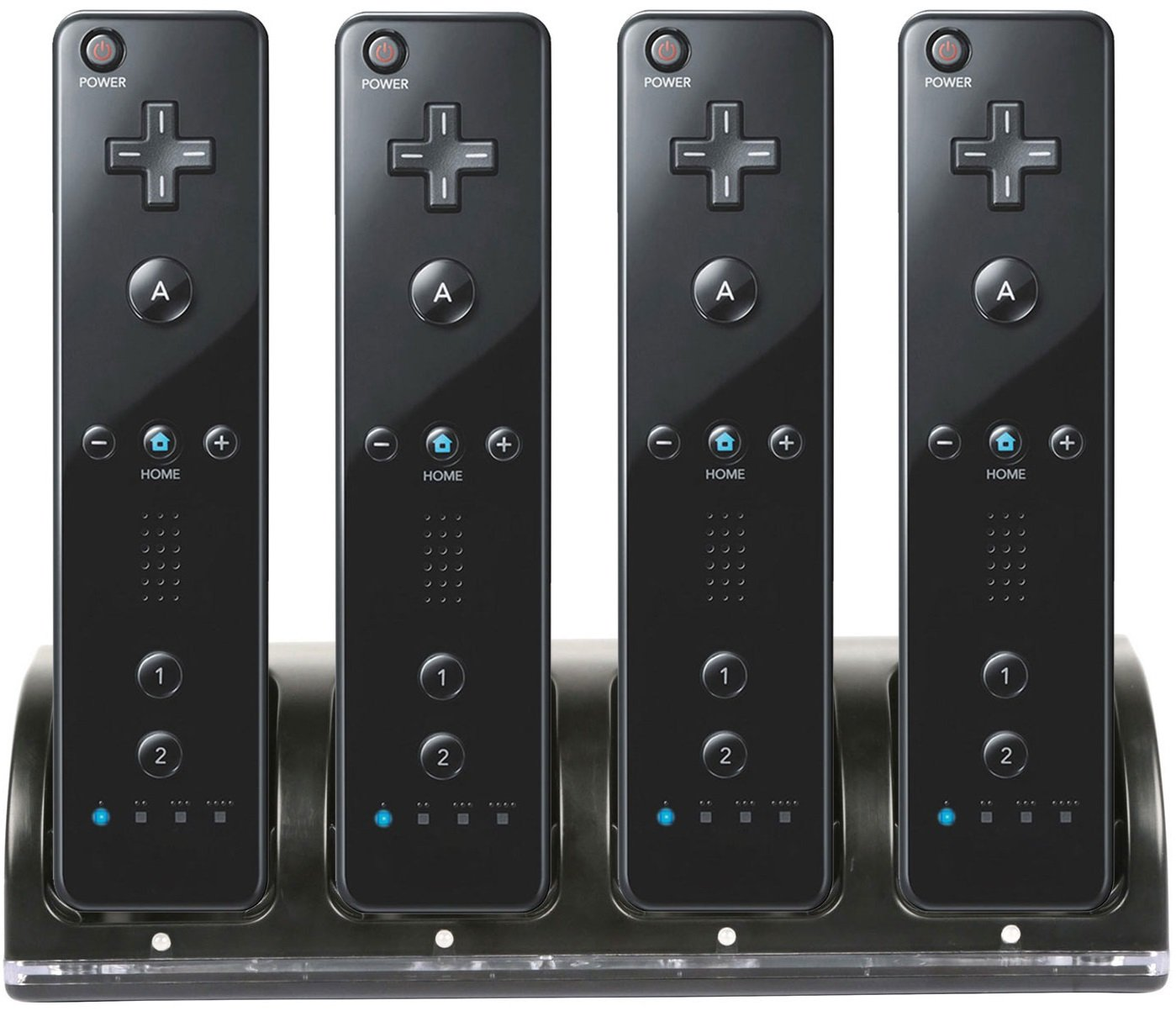GPCT [Nintendo Wii] Remote 4 Charger Charging Dock W/ 4 Rechargeable Batteries & Docking Station. [LED Charge Indicator] for Wii / Wii U Remote Controller [BLACK]