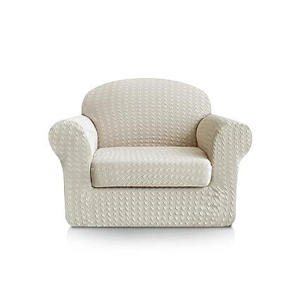 Subrtex 2-Piece Print Jacquard Spandex Fabric Stretch Sofa Slipcovers (Chair, Cream)
