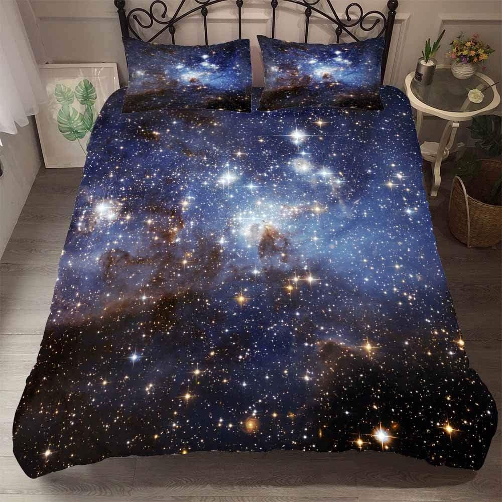 DXSX 3D Galaxy Star Univers Ciel /étoil/é /Étoiles Plan/ète Lunaire Color/é imprim/é Literie Galaxie 01,140 x 200 cm Gar/çon Homme Myst/érieux Ext/érieur Espace Housse de Couette avec Taie doreiller