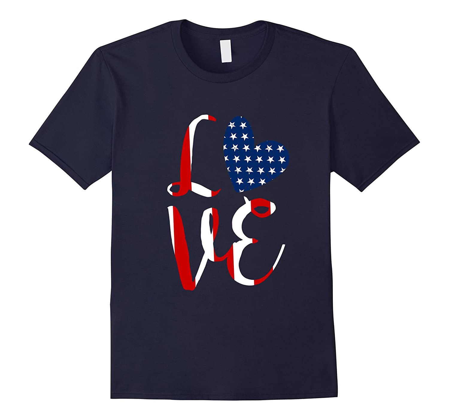 Love 4th Of July Independence Day Tshirt Red White And Blue-TH