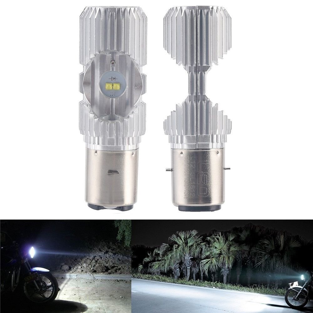 ILS - BA20D 1200LM 6000K 4 LED Scooter Hi/Lo Motorbike Moped ATV Headlight Fog Lamp Bulb I LOVE SHOPPING