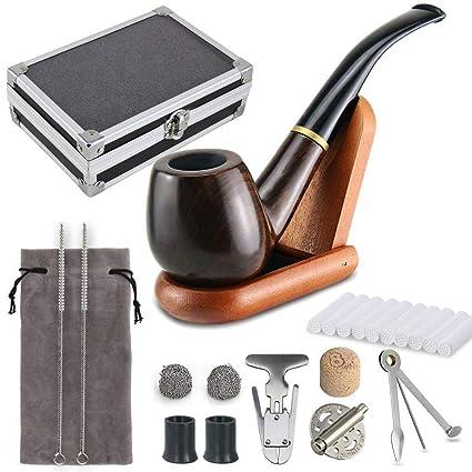 Joyoldelf pipas para tabaco & Delicado estuche de regalo embalaje De madera pipas para tabaco con Cubierta de viento, soporte para pipas de ...