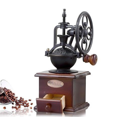 AOLVO Molinillo de café Manual con Ajuste de molienda y cajón de atrapar, Estilo clásico