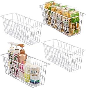 iPEGTOP Metal Wire Storage Organizer Bin Basket, Narrow Storage Organizer for Bathroom, Kitchen cabinets, Pantry, Laundry Room, Closets, Garage, Set of 4