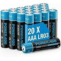 Poweradd Pilas Alcalinas AAA Baterías LR03 de 10 Años Larga Duración para Linternas, Relojes, Mandos a Distancia…