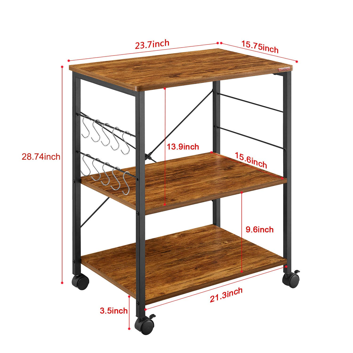Mr IRONSTONE Kitchen Microwave Cart 3-Tier Kitchen Utility Cart Vintage Rolling Bakers Rack with 10 Hooks for Living Room Decoration by Mr IRONSTONE (Image #6)