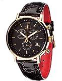 DETOMASO Herren-Armbanduhr Milano mit goldenem Edelstahlgehäuse und schwarzem Zifferblatt. Elegante Quarz Herren-Uhr mit schwarzem Leder-Armband