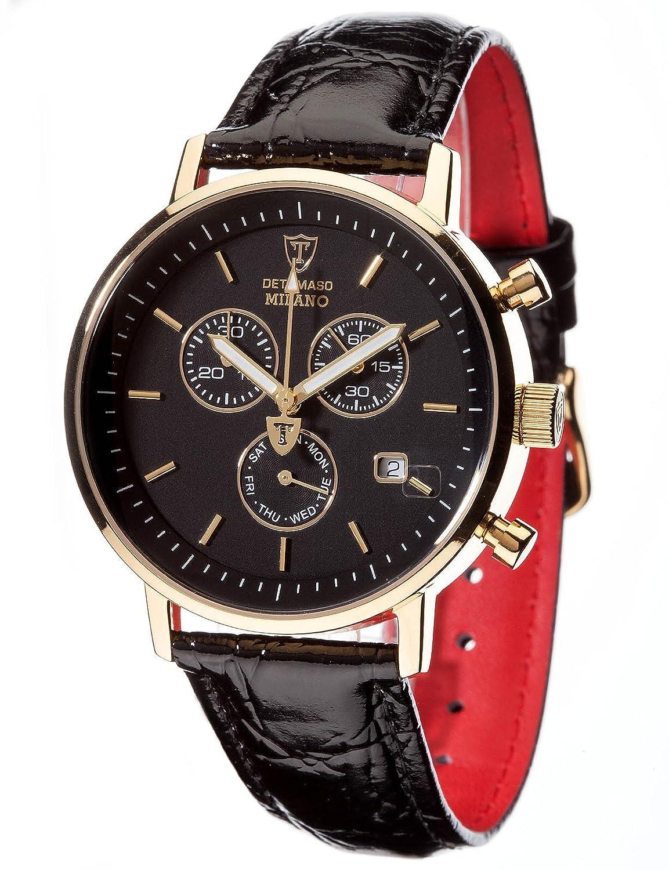 DETOMASO Herren-Armbanduhr Milano mit goldenem EdelstahlgehÄuse und schwarzem Zifferblatt. Elegante Quarz Herren-