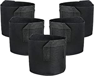 EnPoint Fabric Pots Container, 5 Pack 5 Gallon Plant Grow Bags, Plant Nursery Bags, Aeration Fabric Containers with Strap Handles for Potato, Flower, Tomato Home Gardening Supply