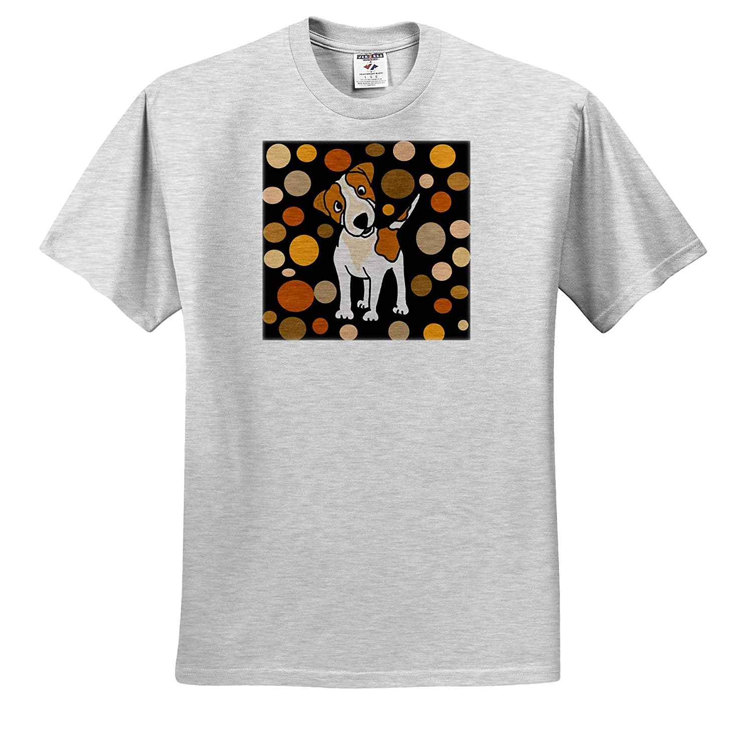 Pets 3dRose All Smiles Art Funny Cute Jack Russell Terrier and Circle Pattern Abstract Art T-Shirts