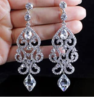 Amazon chandelier rhinestone earrings bridal long drop womens janefashions large sexy austrian crystal rhinestone chandelier dangle earrings bridal e2084 blue or white white aloadofball Gallery