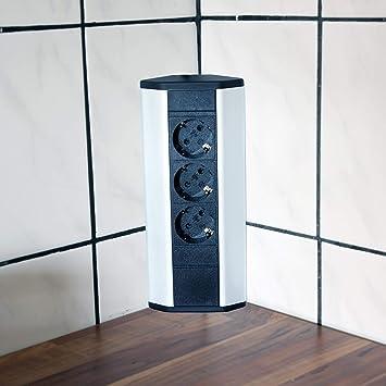 Steckdose für Küche und Büro – Ecksteckdose aus Aluminium und hochwertigem  Kunststoff ideal für Arbeitsplatte, Tischsteckdose oder ...