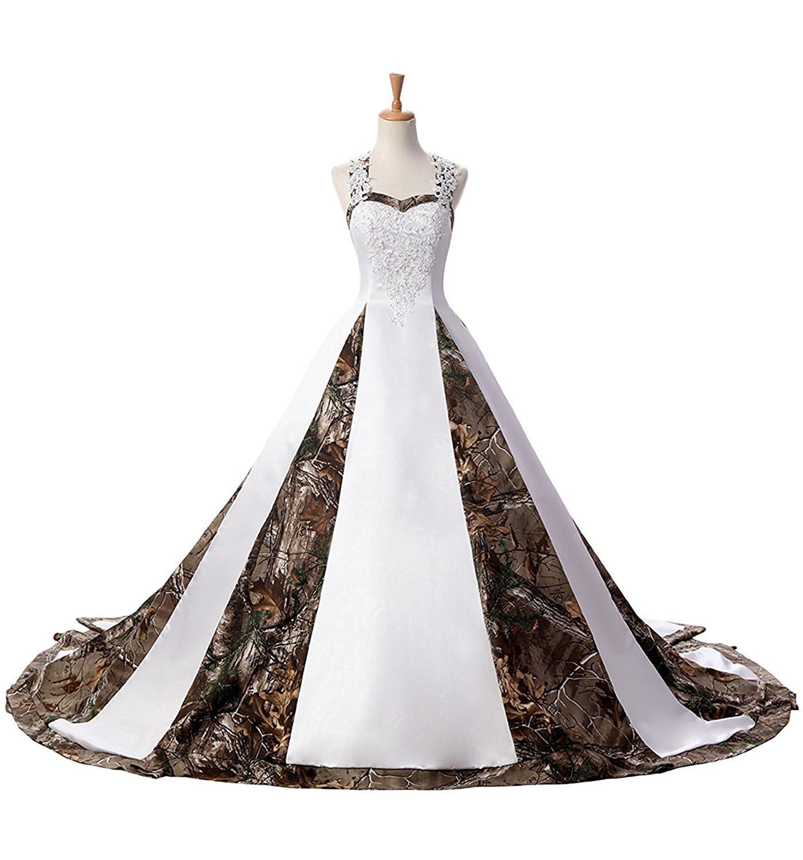 ZVOCY Women's Satin Ball Gown Camouflage Wedding Dresses For Bride Camo Wedding Dress White 22