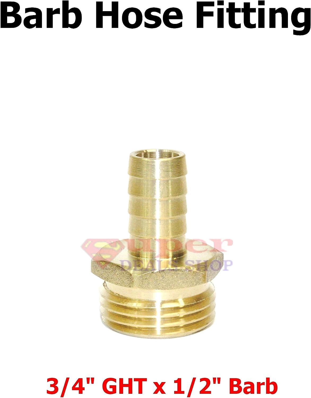 Pneumatics 3//4 GHT Male x 3//4 Barb Brass Hose Fitting Barb Adapter Brass Hose Barb Connector Super-Deals-Shop