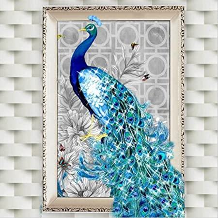 joyliveCY 5D Diamond Embroidery Paintings Rhinestone Pasted diy painting  Cross Stitch Animal Peacock Left  Amazon.co.uk  Kitchen   Home a55e6debd2d6d