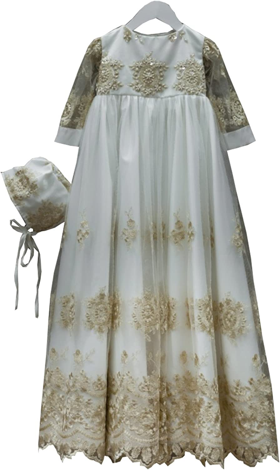 Kelaixiang Jewel Short Sleeve Gold Satin Baptism Gown For Baby Lace with Bonnet
