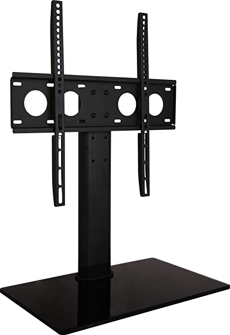 Amazon Com Universal Tabletop Tv Stand Base Replacement Vesa Desktop Center Mount Bracket With Av Media Glass Shelf Fits 27 29 30 32 37 40 47 50 55 Inch Tvs Height Adjustable Vesa 400x400 Black Electronics