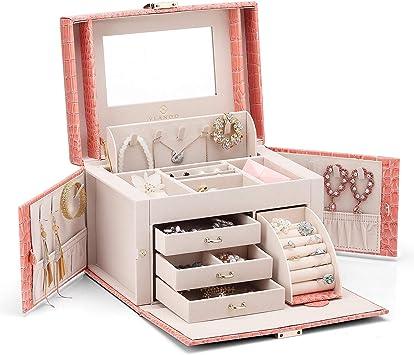 Caja de joyas Vlando de piel sintética, organizador con espejo ...