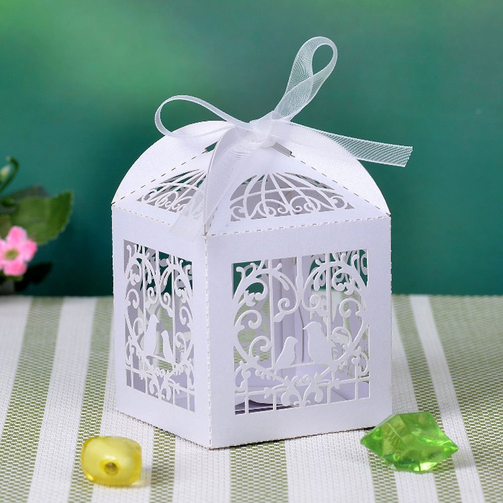 Candy Boxes Dragee Laser Cut Boxes Shaped White Birdcage for Wedding Decoration Birthday Small Gift Aszune