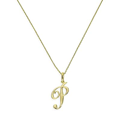 9ct Gold Fancy Calligraphy Script Letter P Pendant On 20 Inches Chain