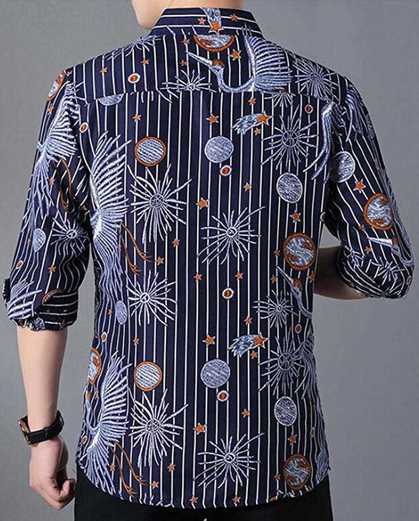 Fubotevic Mens Long Sleeve Plus Size Trendy Stripe Red-Crowned Crane Button Down Dress Shirts