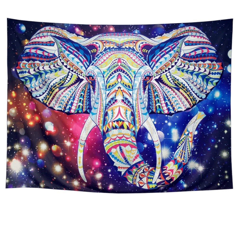 DIPPERION Starry Elephant Trunk Tapestry Indian Ethnic Elephant Tapestry Hippy Gypsy Tapestry Hippie Mandala Bohemian Tapestry Wall Hanging Psychedelic Galaxy Tapestry for Dorm Decor