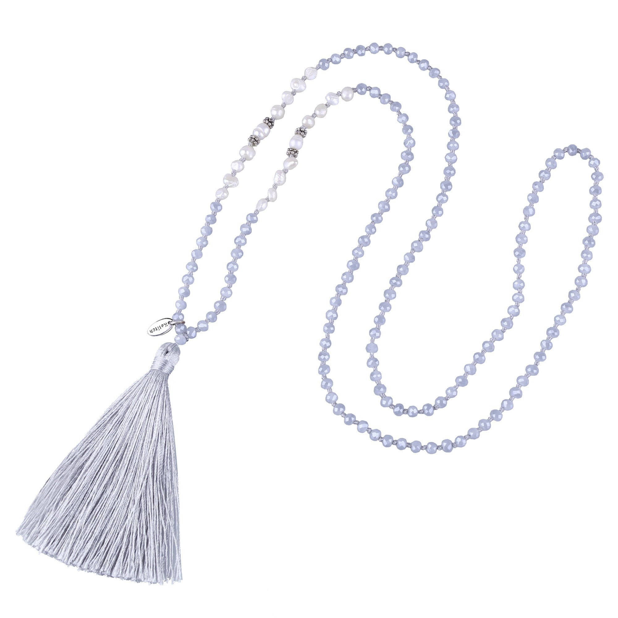 KELITCH Long Tassel Necklace Handmade Shell Pearl Crystal Beads Necklace for Women, Grey