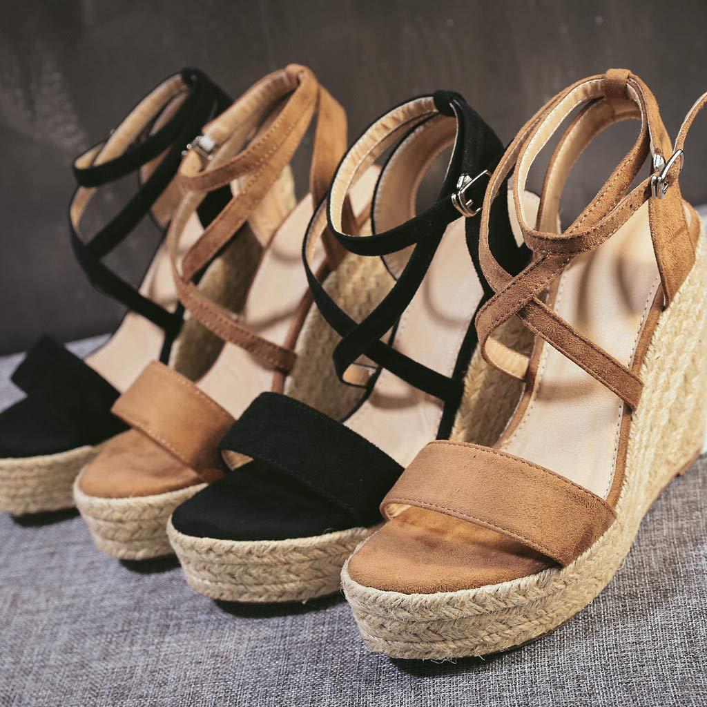 Girls Women Summer Fashion Roman Wedges Sandals Ladies Belt Cross-Strap Buckle Beach Shoes