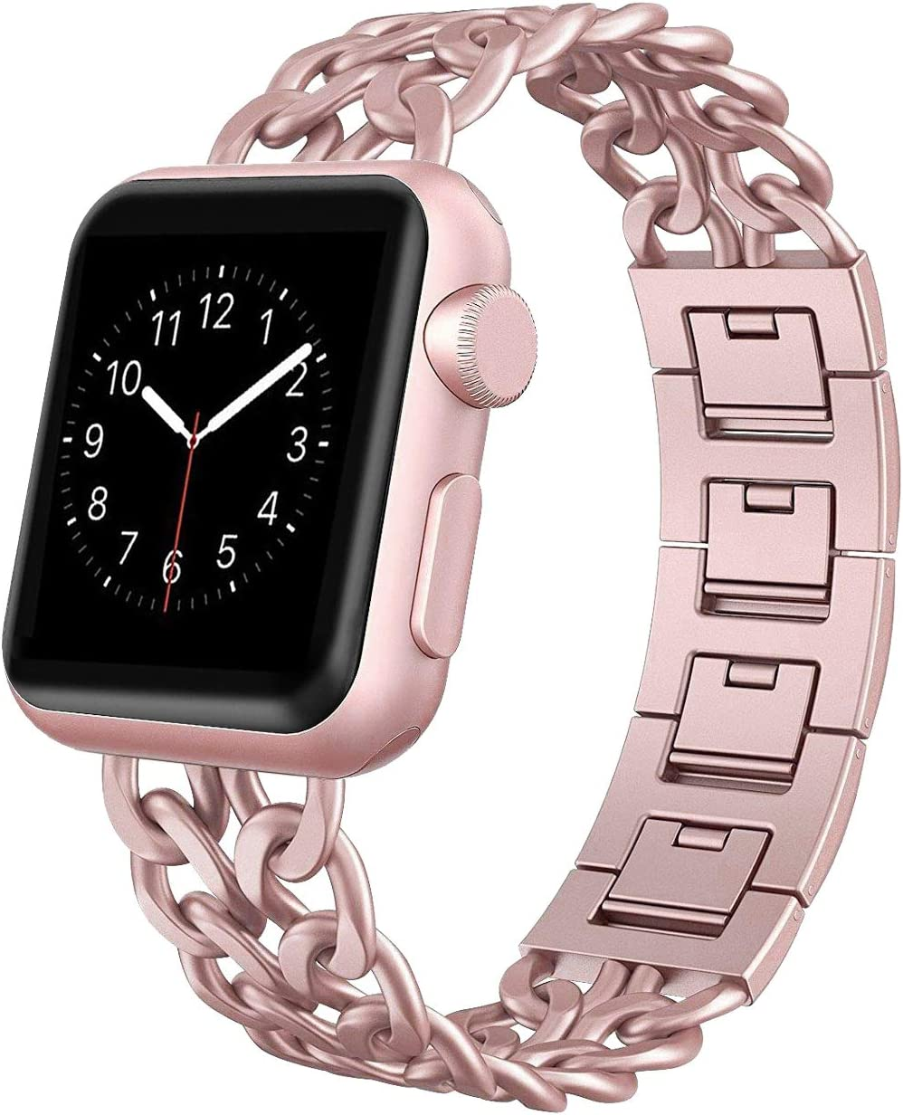 AmzAokay Replacement bands Compatible for Apple Watch 38mm 42mm Stainless Steel Metal Cowboy Chain Strap Wrist Band for Apple Watch 40mm 44mm Series 5 4 3 2 1 Sport and Edition (Rose Gold, 38mm/40mm)