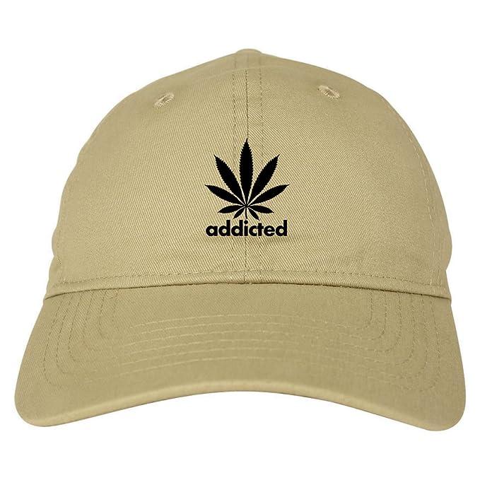 70b017c3d93 Addicted Weed Leaf Marijuana 6 Panel Dad Hat Cap Beige at Amazon Men s  Clothing store