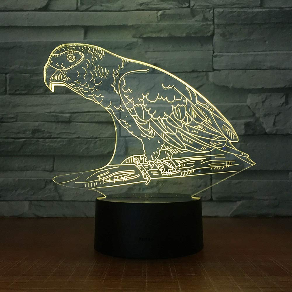 KangYD Cute Parrot 3D LED Night Lamp, Mood Lighting ...