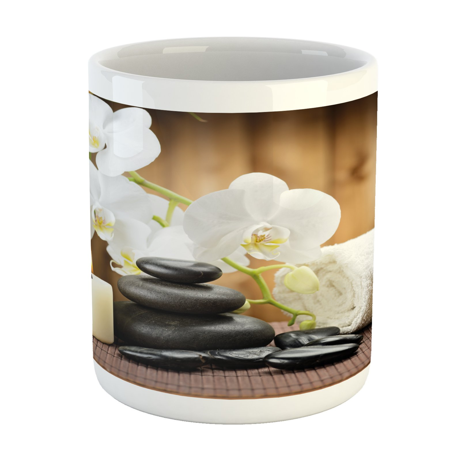 Ambesonne Spa Mug, Asian Spa Style Arrangement with Zen Stones Candle Flowers and Bamboo Art, Printed Ceramic Coffee Mug Water Tea Drinks Cup, White Green and Black