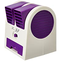 Sethi Traders USB And Battery Powered Mini Portable Dual Blower Desk Table Plastic Air Cooler Fan In White and Purple Color