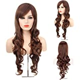 MelodySusie Brown Long Curly Wig - High Quality Fascinating Women Long Curly Wig with Free Wig Cap (Light Brown)