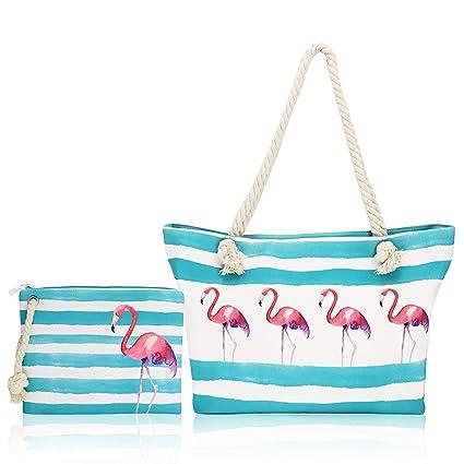 FARI Bolsa de playa grande, bolsa de viaje con cordel para la playa, bolsa de lona para el hombro, cierre de cremallera superior, color Azul, talla ...