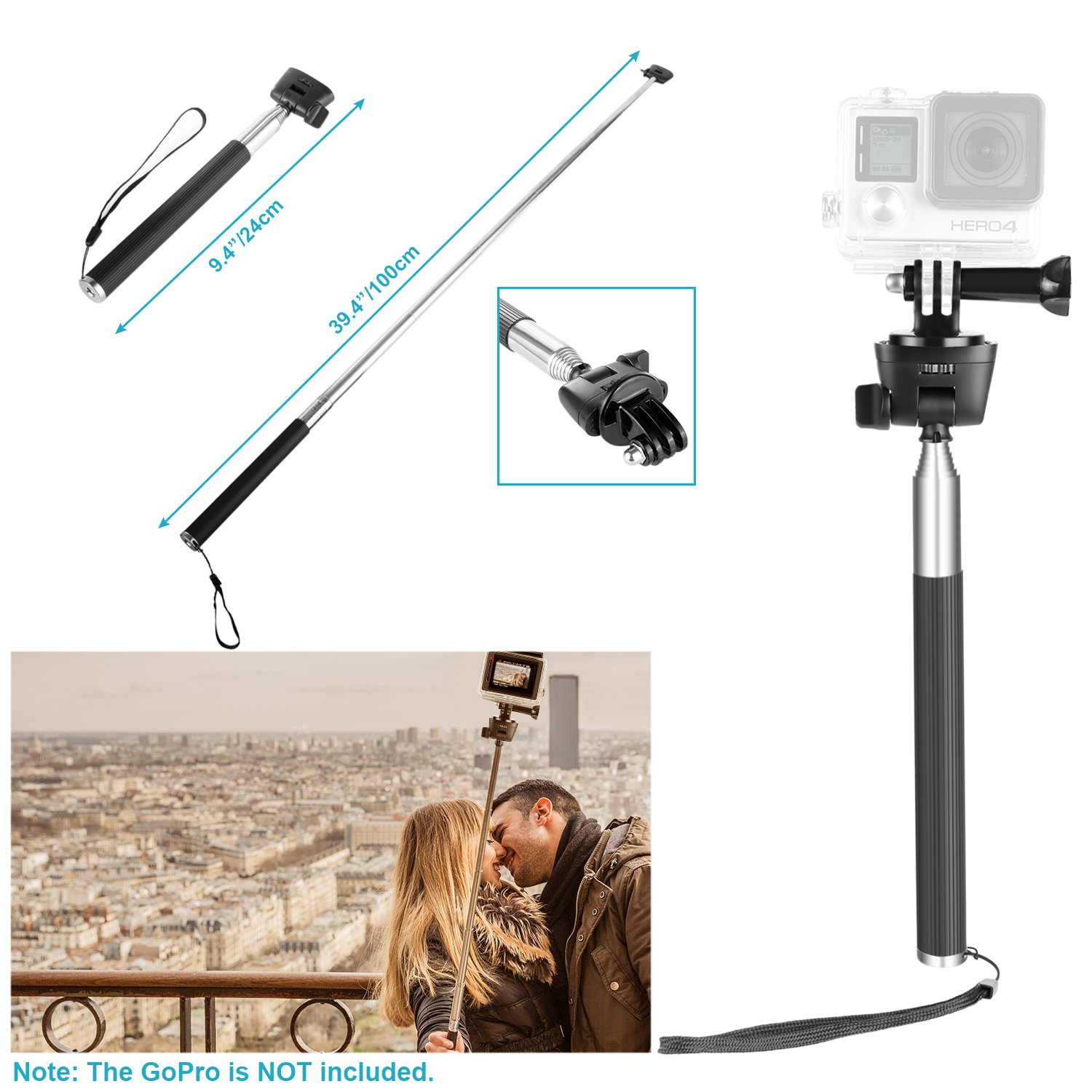 Hero Session Neewer 9-in-1 Action Camera Accessory Kit for GoPro Hero 7 6 5 4 3 2 1 SJ4000//5000 Nikon and Sony Sports Camera Selfie Monopod Includes Car Suction Cup Floating Hand Grip and More
