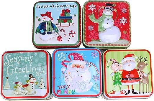 Artibetter 5 piezas latas de metal de navidad cajas de dulces navideñas cajas de regalo cuadradas para fiestas navideñas velas de té caja de regalo de galletas: Amazon.es: Hogar