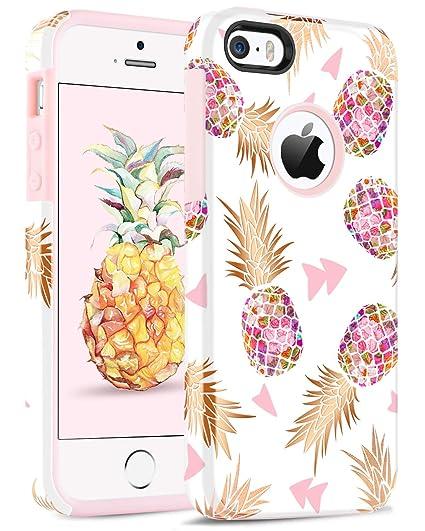 BENTOBEN Compatible iPhone SE, iPhone 5 5S Case, Hybrid Gold Pineapple Pattern Slim Hard