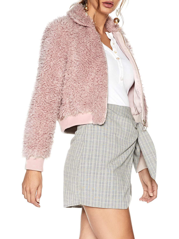 D Jill Women's Winter Warm Long Sleeve Zipper Faux Fur Coat Jacket Pink