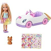 Barbie GXT41 - Chelsea pop (blond) met eenhoorn auto, hond en accessoires, voor kinderen van 3 tot 8 jaar