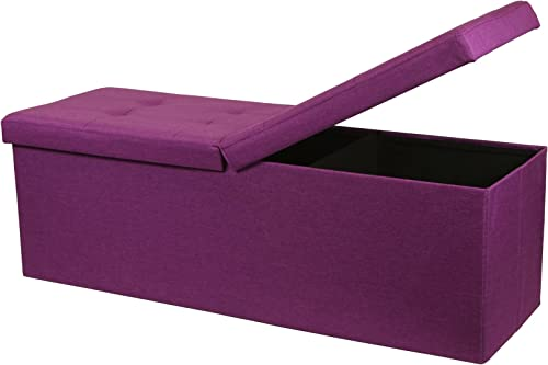 Otto Ben Folding Toy Box Chest Upholstered Tufted Ottomans, Orchid Purple