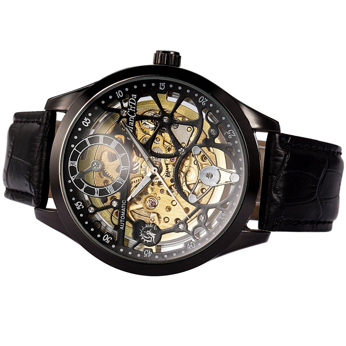 ManChDa Big Case 47MM XL Automatic Mechanical Crystal Black Leather Wrist Watch + Gift Box by ManChDa (Image #2)