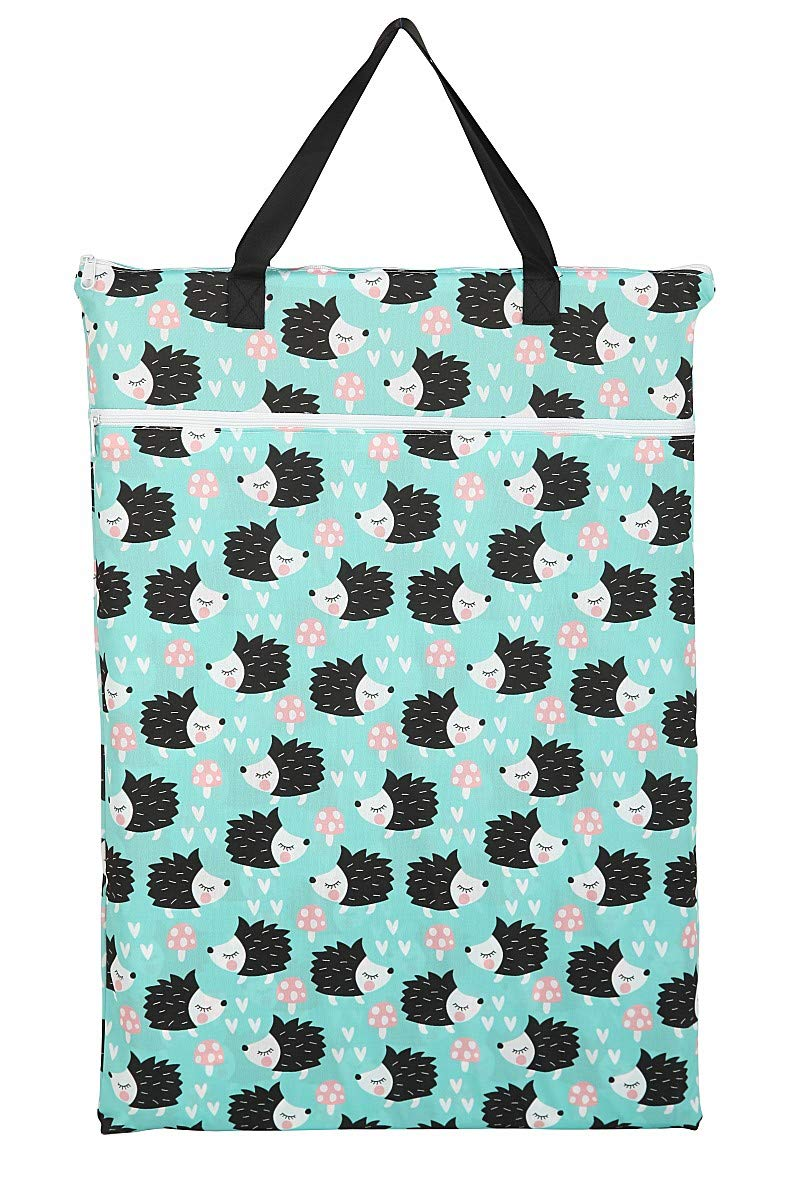 Large Hanging Wet/Dry Cloth Diaper Pail Bag for Reusable Diapers or Laundry (Hedgehog)