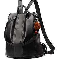 PARADOX LABEL PARADOX Girl's Water Resistant Vegan Leather Anti-Theft School Shoulder Backpack (Brown)