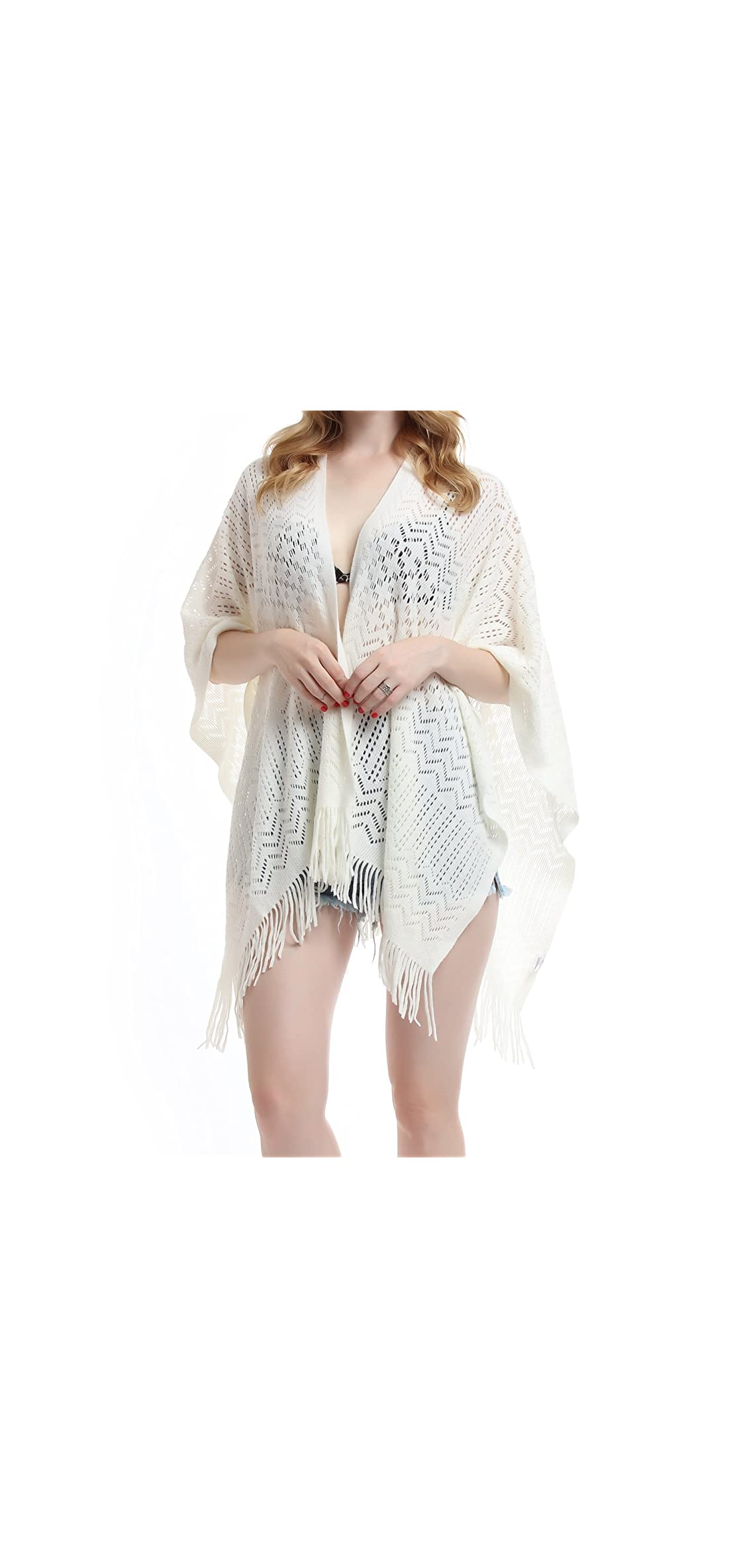 Knit Shawl Wrap For Women - Ladies Fringe Knitted