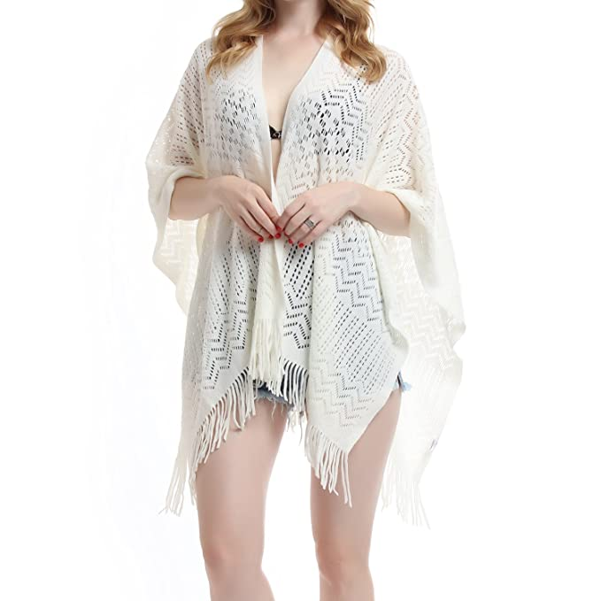 Victorian Capelet, Cape, Cloak, Shawl, Muff Knit Shawl Wrap for Women - Soul Young Ladies Fringe Knitted Poncho Cardigan Cape $19.99 AT vintagedancer.com