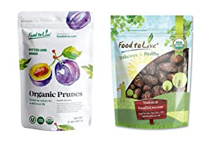 Organic Fruits Bundle - Organic Pitted Prunes, 2 Pounds and Organic Medjool Dates, 2 Pounds - Non-GMO, Kosher, Raw, Vegan.