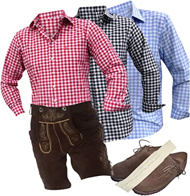 Trend-Promotion Austria – Traje de marrón plattler – Pantalones de piel camisas Guantes haferl Calcetines portador Echtleder Hombre